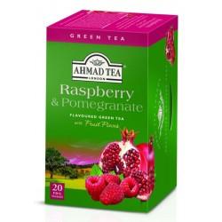 Зелен чай AHMAD Малина и нар 20бр.x2g