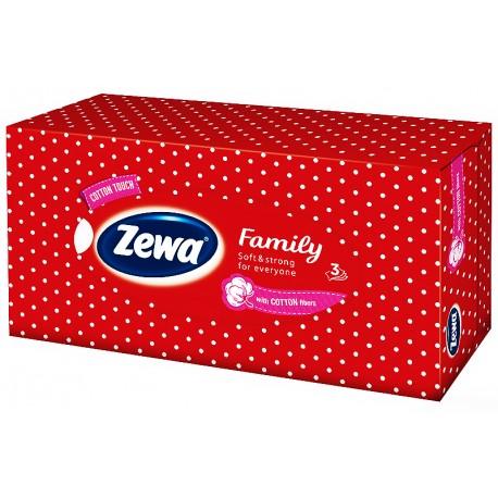 Кърпи за лице 90 бр. 3 пл. Zewa Family червена кутия