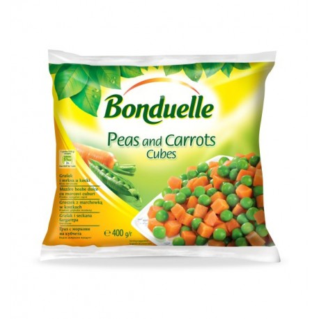 Замразен грах с моркови на кубчета Бондюел 400 g