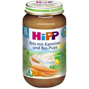 Пюре HIPP ориз, моркови и пуешко 220g