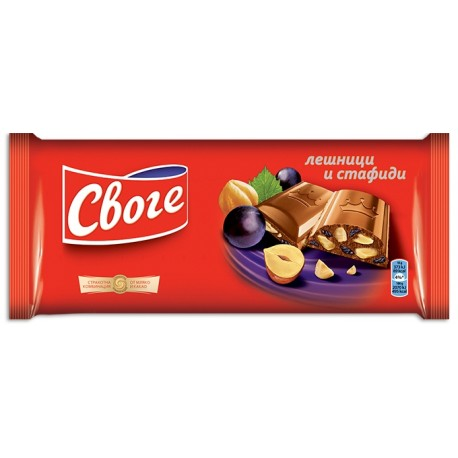 Шоколад Своге лешници и стафиди 90g