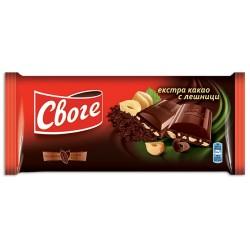 Шоколад Своге Екстра какао Лешници 90g