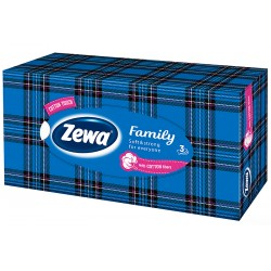 Кърпи за лице Zewa Family синя кутия 90 бр. 3пластови
