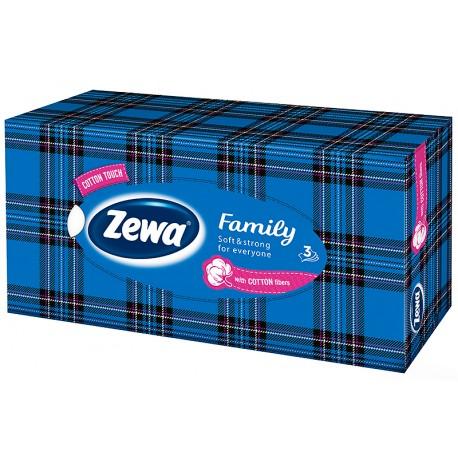 Кърпи за лице 90 бр. 3 пл. Zewa Family синя кутия