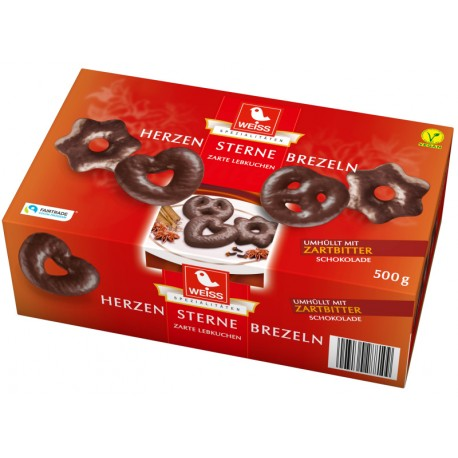 Меденки Сърца, звезди, брецели с натурален шоколад WEISS 500g