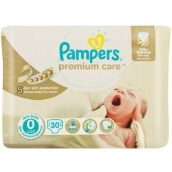Пелени Pampers Premium Care за недоносено до 2,5kg 30бр. Размер 0