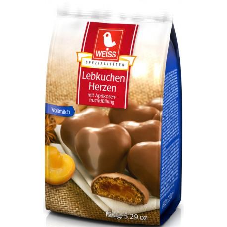 Меденки WEISS Сърца Млечен шоколад с пълнеж 150g