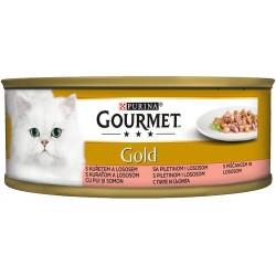Храна за котки GOURMET GOLD Сьомга и пиле 85g