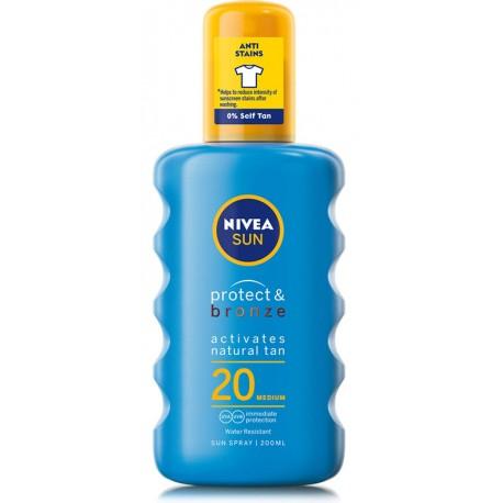 Спрей NIVEA слънцезащитен PROTECT&BRONZE SPF20 200ml