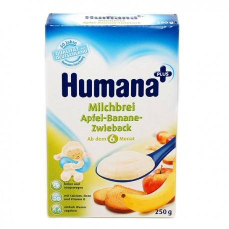 Млечна каша с ябълки, банани и сухар Хумана 0.250